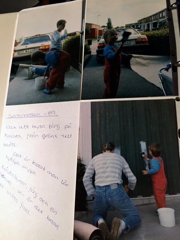 Och som 5 åring passade jag på att hjälpa pappa att måla om huset lite ;)